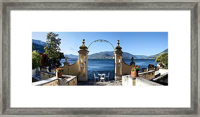 View Of Lake Como From A Patio Framed Print by Panoramic Images
