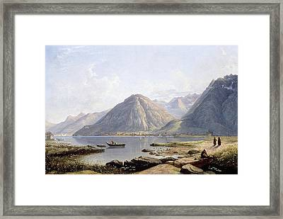 View Of Lake Geneva With The Town Of Villeneuve Framed Print by Francis Danby