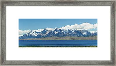 View Of Lake With Snowcapped Mountains Framed Print