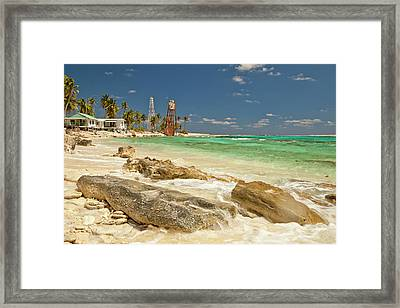 View Of Lighthouse On Half Moon Caye Framed Print