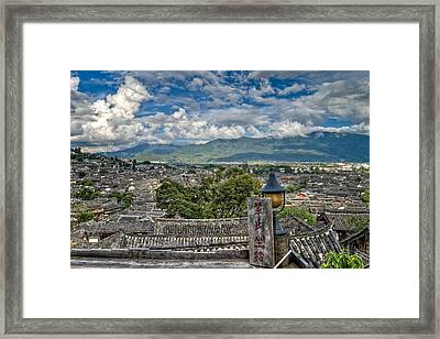 View Of Lijiang Old Town Framed Print by James Wheeler