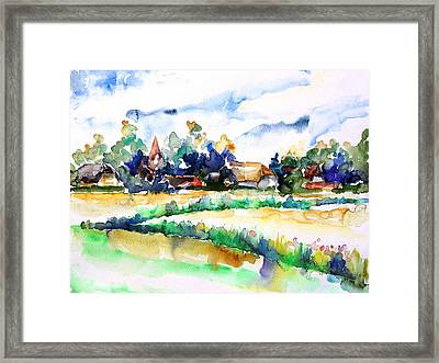 View Of Ludorf Over The Meadows  Framed Print by Barbara Pommerenke