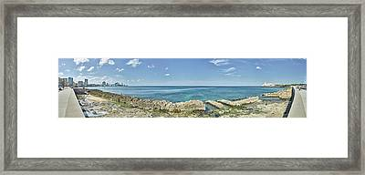 View Of Malecon From Vedado To La Framed Print