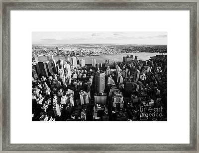 View Of Manhattan East River Looking Towards Queens New York City Usa Framed Print by Joe Fox