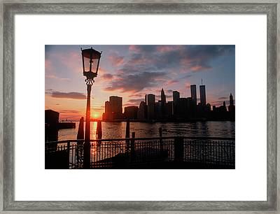 View Of Manhattan From The Brooklyn Framed Print