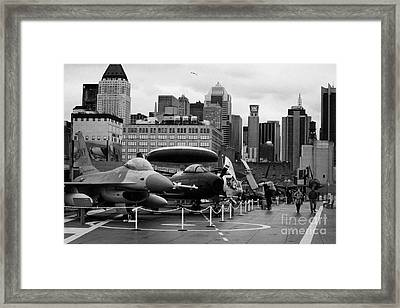 View Of Manhattan From The Flight Deck Of The Uss Intrepid At The Intrepid Sea Air Space Museum Framed Print