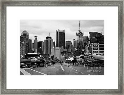View Of Manhattan From The Flight Deck Of The Uss Intrepid  New York City Framed Print by Joe Fox