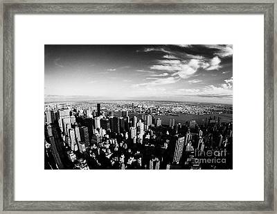 view of manhattan north east towards east river and Queens new york city usa Framed Print