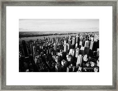 View Of Manhattan North West Towards Hudson River From Empire State Building Framed Print by Joe Fox