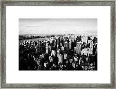 View Of Manhattan North West Towards Hudson River From Empire State Building New York Framed Print by Joe Fox