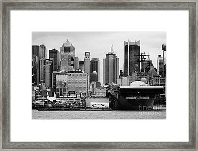 view of manhattan skyline USS Intrepid Aircraft Carrier new york city landmarks Framed Print
