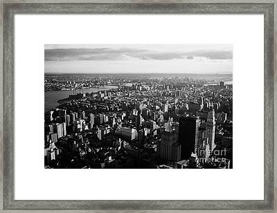 view of manhattan south east towards east river and Brooklyn new york city cityscape usa Framed Print by Joe Fox