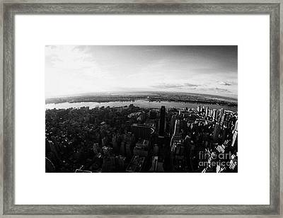View Of Manhattan South West Towards Hudson River New Jersey New York City Framed Print