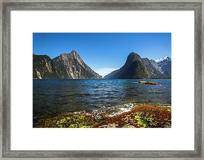 View Of Mitre Peak And Milford Sound Framed Print by James White