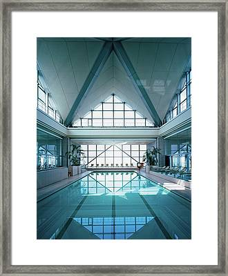 View Of Modern Swimming Pool Framed Print by Erhard Pfeiffer