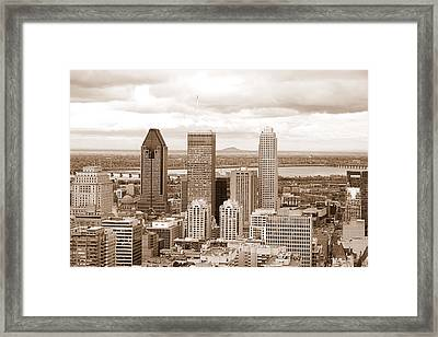 View Of Montreal In Sepia Framed Print by Valentino Visentini