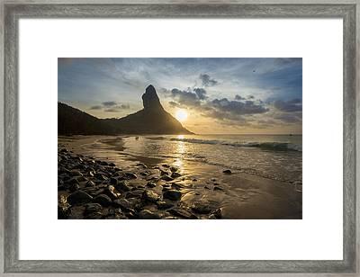 View Of Morro Do Pico From Praia Da Framed Print by Dosfotos