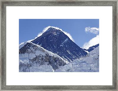 View Of Mount Everest From The Summit Of Kala Pathar In The Everest Region Of Nepal Framed Print by Robert Preston