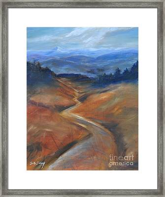 Framed Print featuring the painting View Of Mt Hood by Sally Simon