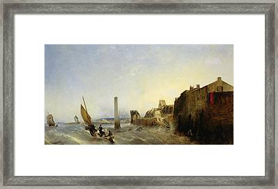 View Of Napoleon Quay At Cherbourg Framed Print by Jean Louis Petit