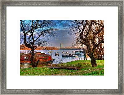 View Of New Belgrade Over The Danube. Serbia Framed Print by Juan Carlos Ferro Duque
