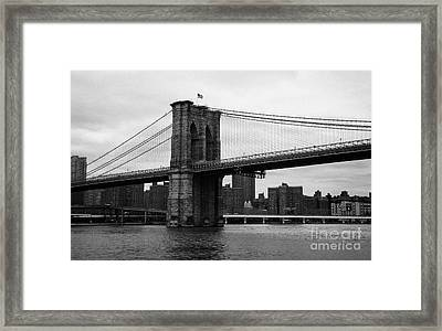 View Of New York From Beneath The Brooklyn Bridge New York City Framed Print by Joe Fox