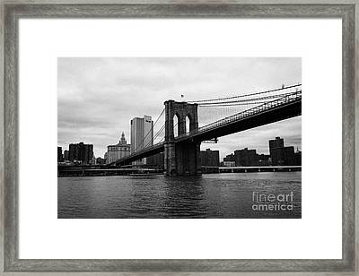 View Of New York From Beneath The Brooklyn Bridge New York Framed Print
