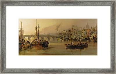 View Of Newcastle From The River Tyne Framed Print by Thomas Miles Richardson