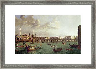 View Of Old London Bridge Oil On Panel Framed Print by English School