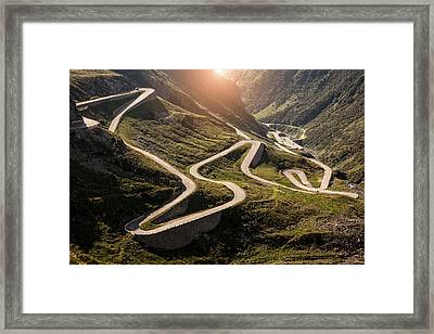View Of Old Road To Gotthard Pass Framed Print by Walter Zerla