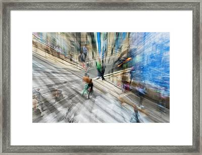 View Of Pedestrians And Cars Framed Print by Ben Welsh