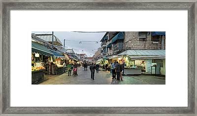 View Of People In Market, Mahane Yehuda Framed Print