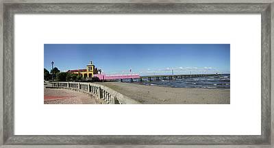 View Of Pier On Beach, Lake Nicaragua Framed Print