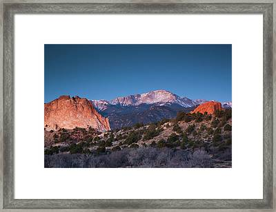 View Of Pikes Peak At Dawn, Garden Framed Print
