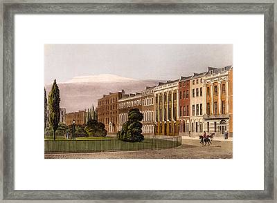 View Of Portman Square, North Side, 1816 Framed Print by Rudolph Ackerman