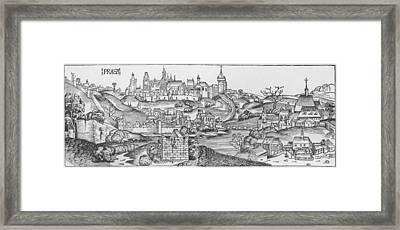 View Of Prague, Illustration From The Liber Chronicarum By Hartmann Schedel 1440-1514 Published Framed Print