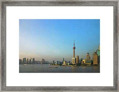 View Of Pudong Skyline Dominated Framed Print