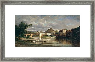 View Of Puy-en-velay From Espaly, 1872 Oil On Canvas Framed Print
