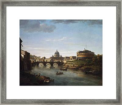 View Of Rome From The Tiber Framed Print by William Marlow