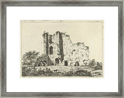 View Of Ruins, In The Shadows Are A Man And A Woman Framed Print