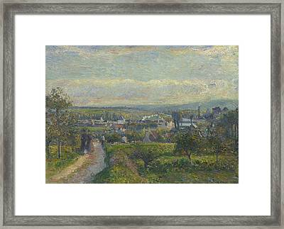 View Of Saint Ouen L Aumone, 1876 Framed Print by Camille Pissarro