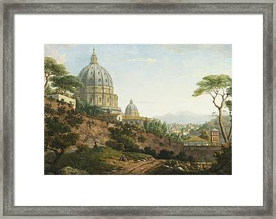 View Of Saint Peter's Rome Framed Print by Celestial Images