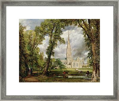 View Of Salisbury Cathedral From The Bishop's Grounds Framed Print by John Constable