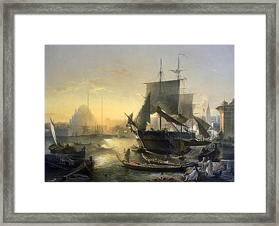 View Of Shipping On The Bosphorus Framed Print by German School