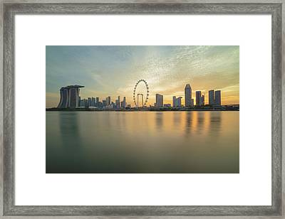 View Of Singapore Skyscraper Framed Print by Natthawat