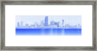 View Of Skylines At Night, Miami Framed Print