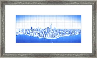 View Of Skylines In A City, Lake Framed Print