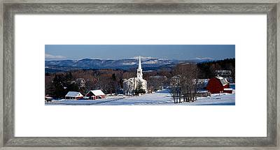 View Of Small Town In Winter, Peacham Framed Print by Panoramic Images