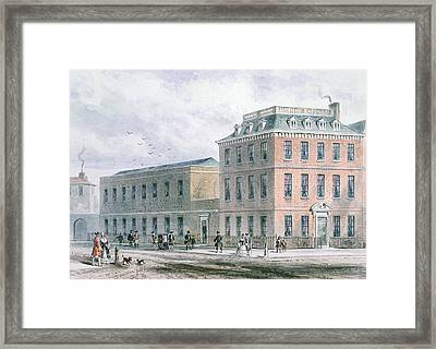 View Of Soho Square And Carlisle House Wc On Paper Framed Print by Thomas Hosmer Shepherd