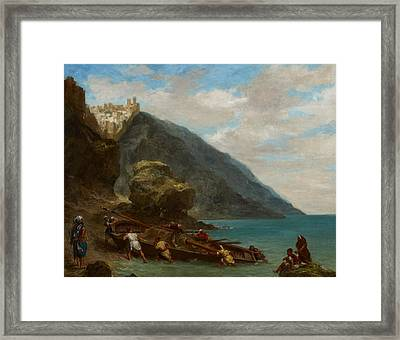 View Of Tangier From The Seashore Framed Print by Ferdinand Victor Eugene Delacroix